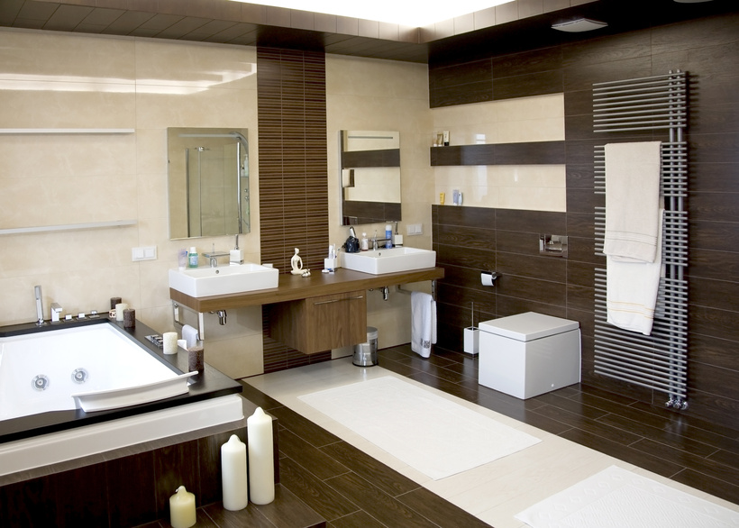 luxurious modern white bathroom with dark wood floors